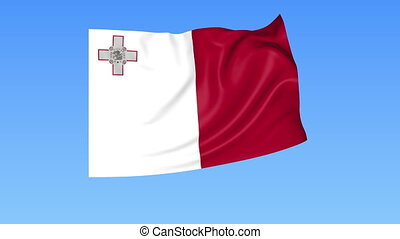 Waving flag of Malta, seamless loop. Exact size, blue...
