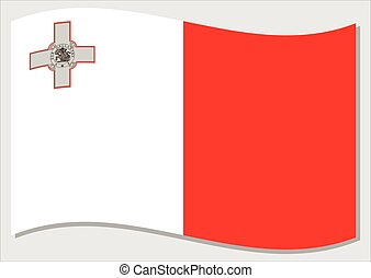 Waving flag of Malta vector graphic. Waving Maltese flag illustration. Malta country flag wavin in the wind is a symbol of freedom and independence.