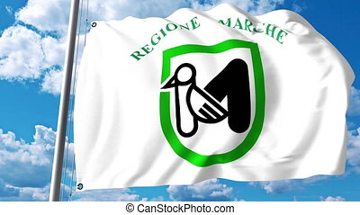 Waving flag of Marche a region of Italy - Waving flag of...