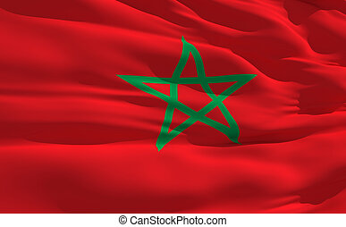 Fluttering flag of Maroc on the wind