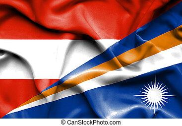 Waving flag of Marshall Islands and Austria