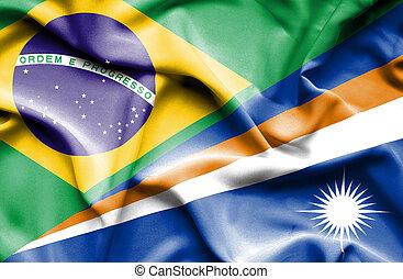 Waving flag of Marshall Islands and Brazil