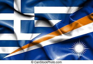 Waving flag of Marshall Islands and Greece