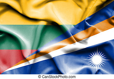 Waving flag of Marshall Islands and Lithuania