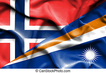 Waving flag of Marshall Islands and Norway