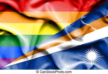 Waving flag of Marshall Islands and Pride