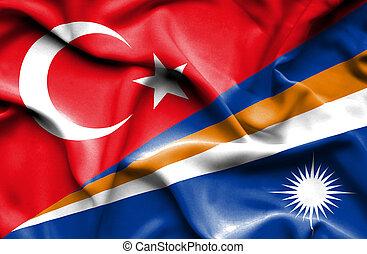 Waving flag of Marshall Islands and Turkey