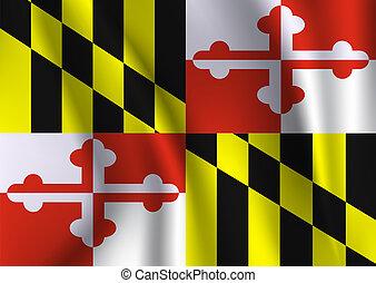 Waving flag of Maryland.
