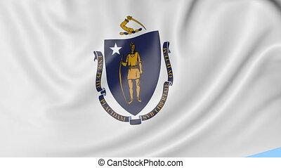 Waving flag of Massachusetts state against blue sky....