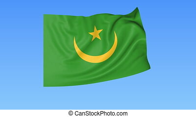 Waving flag of Mauritania, seamless loop. Exact size, blue background. Part of all countries set. 4K ProRes with alpha.