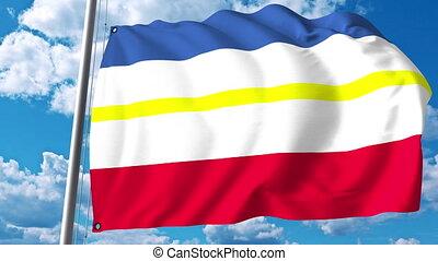 Waving flag of Mecklenburg-Vorpommern a state of Germany