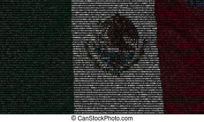Waving flag of Mexico made of text symbols on a computer screen. Conceptual loopable animation
