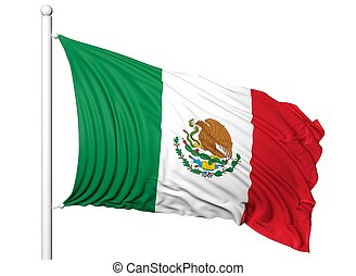 Waving flag of Mexico on flagpole, isolated on white...