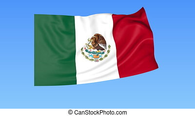 Waving flag of Mexico, seamless loop. Exact size, blue background. Part of all countries set. 4K ProRes with alpha