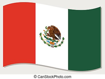 Waving flag of Mexico vector graphic. Waving Mexican flag illustration. Mexico country flag wavin in the wind is a symbol of freedom and independence.