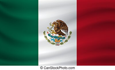 Waving flag of Mexico. Vector illustration