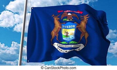 Waving flag of Michigan. 4K clip