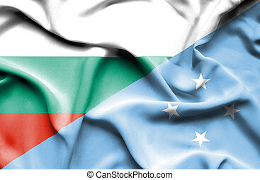 Waving flag of Micronesia and Bulgaria