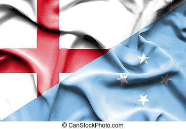 Waving flag of Micronesia and England