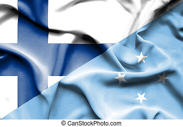 Waving flag of Micronesia and Finland