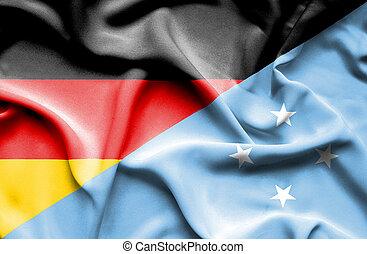 Waving flag of Micronesia and Germany