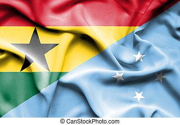 Waving flag of Micronesia and Ghana