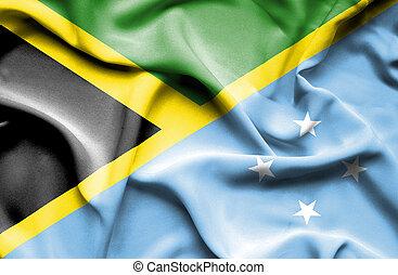 Waving flag of Micronesia and Jamaica