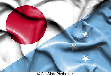 Waving flag of Micronesia and Japan