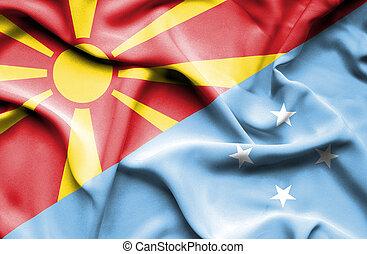 Waving flag of Micronesia and Macedonia