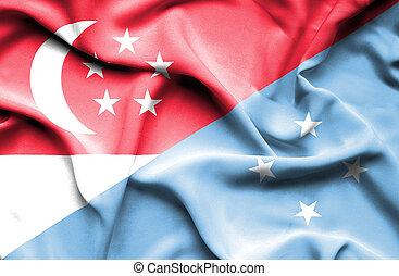 Waving flag of Micronesia and Singapore