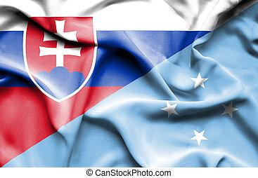 Waving flag of Micronesia and Slovak