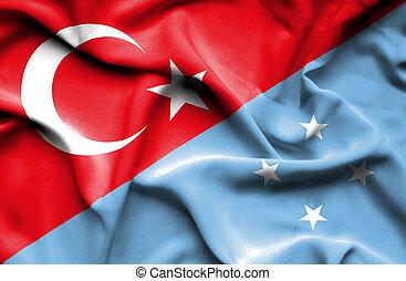 Waving flag of Micronesia and Turkey