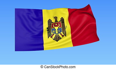 Waving flag of Moldova, seamless loop. Exact size, blue...
