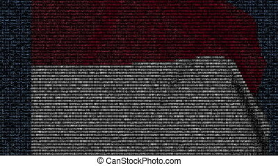 Waving flag of Monaco made of text symbols on a computer...