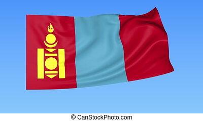 Waving flag of Mongolia, seamless loop. Exact size, blue...