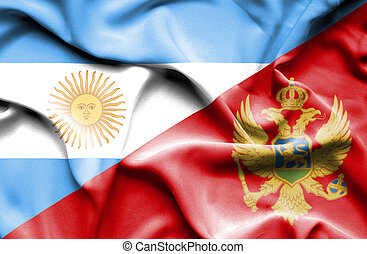 Waving flag of Montenegro and Argentina