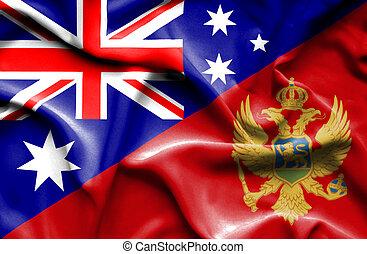 Waving flag of Montenegro and Australia