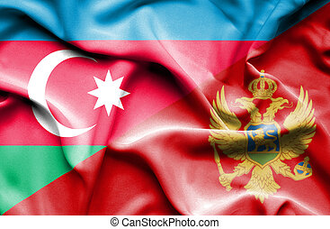 Waving flag of Montenegro and Azerbaijan