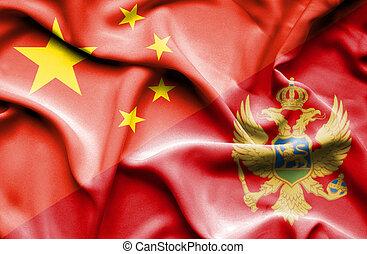 Waving flag of Montenegro and China