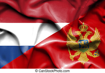 Waving flag of Montenegro and Netherlands
