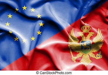 Waving flag of Montenegro and EU