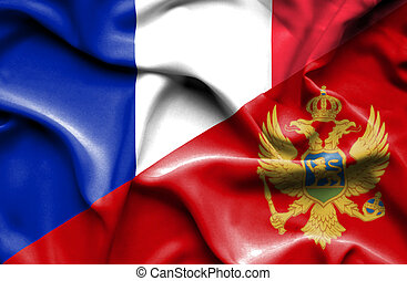 Waving flag of Montenegro and France