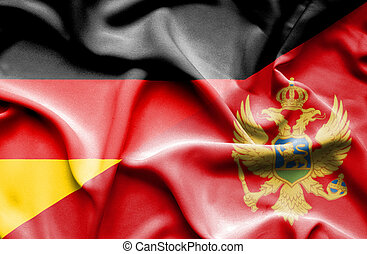Waving flag of Montenegro and Germany