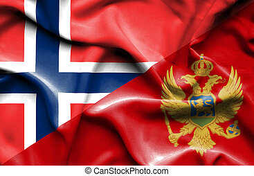 Waving flag of Montenegro and Norway