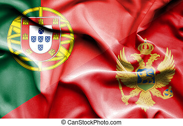 Waving flag of Montenegro and Portugal