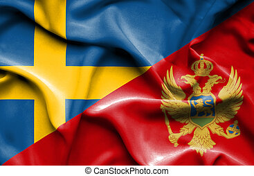 Waving flag of Montenegro and Sweden