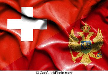 Waving flag of Montenegro and Switzerland