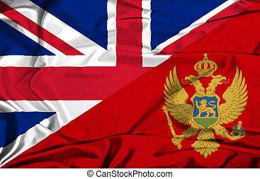 Waving flag of Montenegro and UK