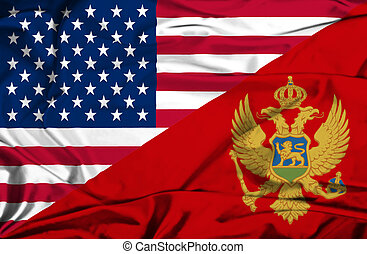 Waving flag of Montenegro and USA