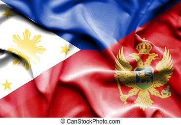 Waving flag of Montenegro andPhilippines